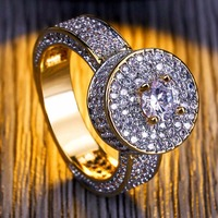brand Arrivals Three Rows Round White Chain Zircon Rings Women And Men Party Wedding Gold Concise Jewelry Accessories
