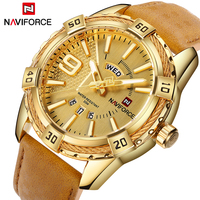 Top Brand NAVIFORCE Watches Men Sport Quartz Reloj Leather Wristwatch Hombre Army Military Watch Men S