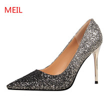 MEIL 2018 Silver bling design Women Shoes High Heels Stilettos Pointed Toe Pumps Wedding Shoes 9.5CM thin heels ladies shoes цена 2017