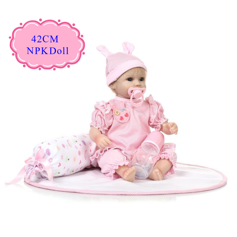 NPK 42cm 17''Cute Reborn Baby Doll With Curly Handroot Mohair Hot Welcome Reborn Bebe Babies Dolls As Kids Toys Girl Brinquedos new arrival 18inch doll npk american sweet girl with curly long hair in floral skirt dress bonecas bebe kids gift brinquedos