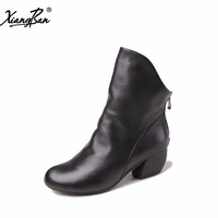 2016 Vintage Style Women Boots Ankle Boots Genuine Leather Black Zip Handmade Shoes Pointed Toe Med
