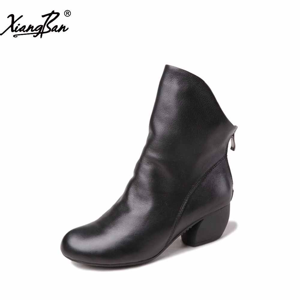 Xiangban 2019 vintage fashion black women ankle boots spring autumn casual shoes mid heels female boots zipperXiangban 2019 vintage fashion black women ankle boots spring autumn casual shoes mid heels female boots zipper