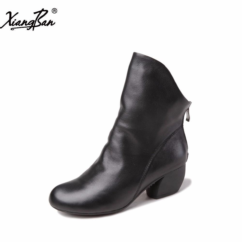 Ксиангбан 2019 винтаге фасхион блацк женски чизми прољеће јесени цасуал схоес средње пете женске чизме зиппер