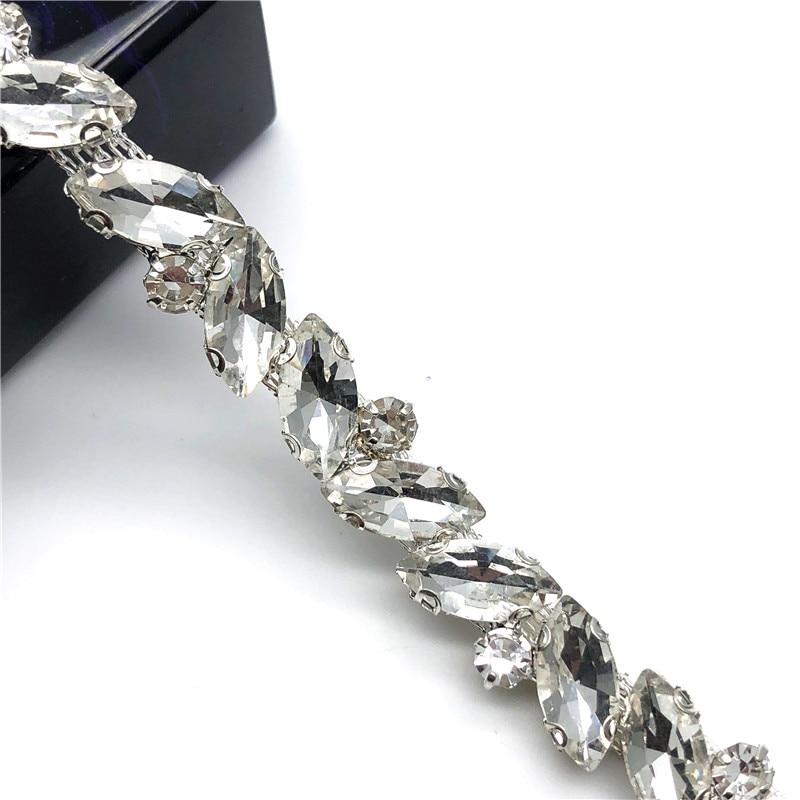 5 Yards lot Crystal Chain Silver Claws Rhinestone Trim for Handmade Bridal Belt Jewelry DIY Clothes