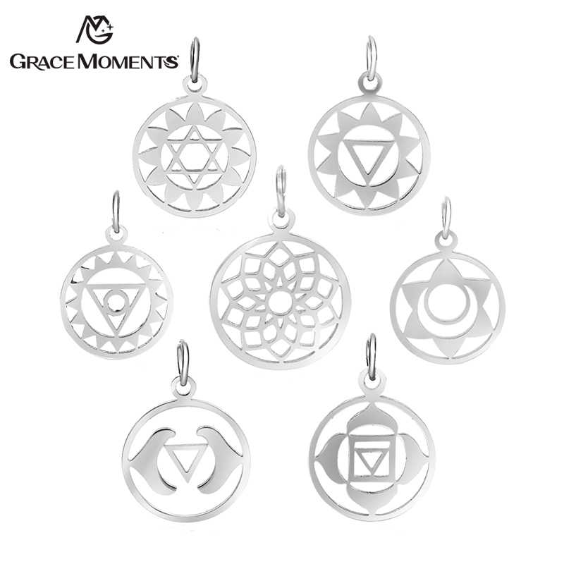 5pcs/Lot Chakra Charms Yoga Meditation Pendants Round Hollow Chakra Yoga OM Buddhist Metal DIY Charms For Jewelry Making Supply