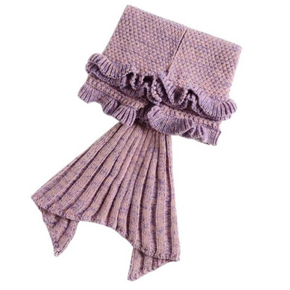 Купить с кэшбэком Yarn Knitted Mermaid Tail Blanket Kids Handmade Crochet Mermaid Blanket Super Soft Sleeping Bag