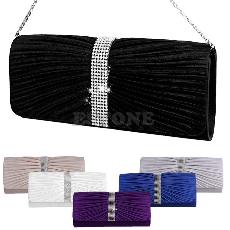 THINKTHENDO Womens Elegant Pleated Satin Rhinestone Fashion Clutch Handbags Evening Bag