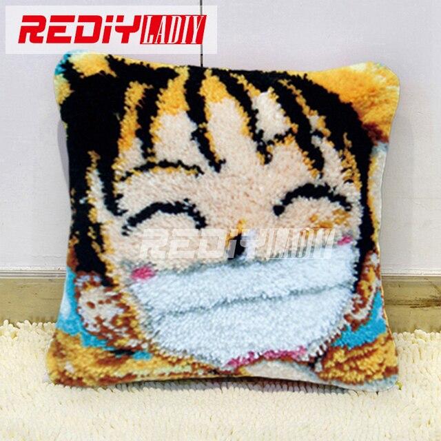 Latch Hook Pillow Kits Cartoon Laughter Boy Diy Needlework Crocheting Rug Yarn Handmade Unfinished