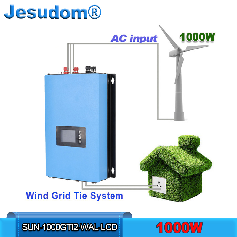 MPPT 1000W Wind Power Grid Tie Inverter Pure Sine Wave with LCD Dump Load Resistor AC