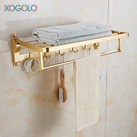 Xogolo Space Aluminum Romantic Gold Movable Bath Towel Rack Holder Wall Mounted Bathroom Accessories