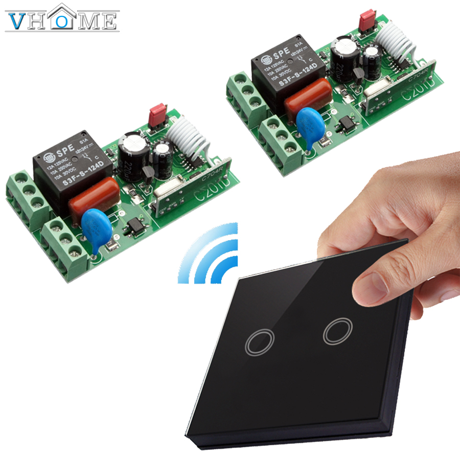 Vhome EU smart home Wireless touch 2 Button 433MHZ wall touch panel transmitter remote control with Receiver switch 170V-220V 5A black color 2gang touch light switch with wireless remote control rf 433mhz glass panel smart wall touch switch uk type