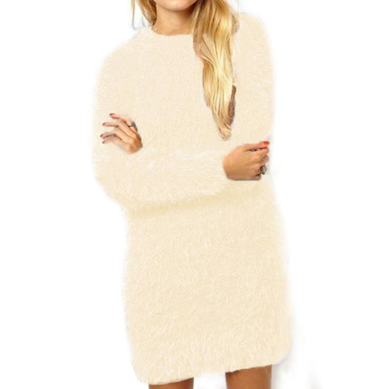 Women Casual Mohair Sweater Dress Vestido 2017 Long Sleeves Jumper blusas Sueter Mujer Feminina Vestidoes Clothing WS3933Y