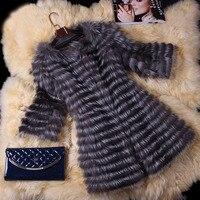 BFFUR Real Fur Coat Luxury Women Winter Fashion Style Natural Fur Vest Coat Female Silver Fox Fur Coat Real Fur BF C0006