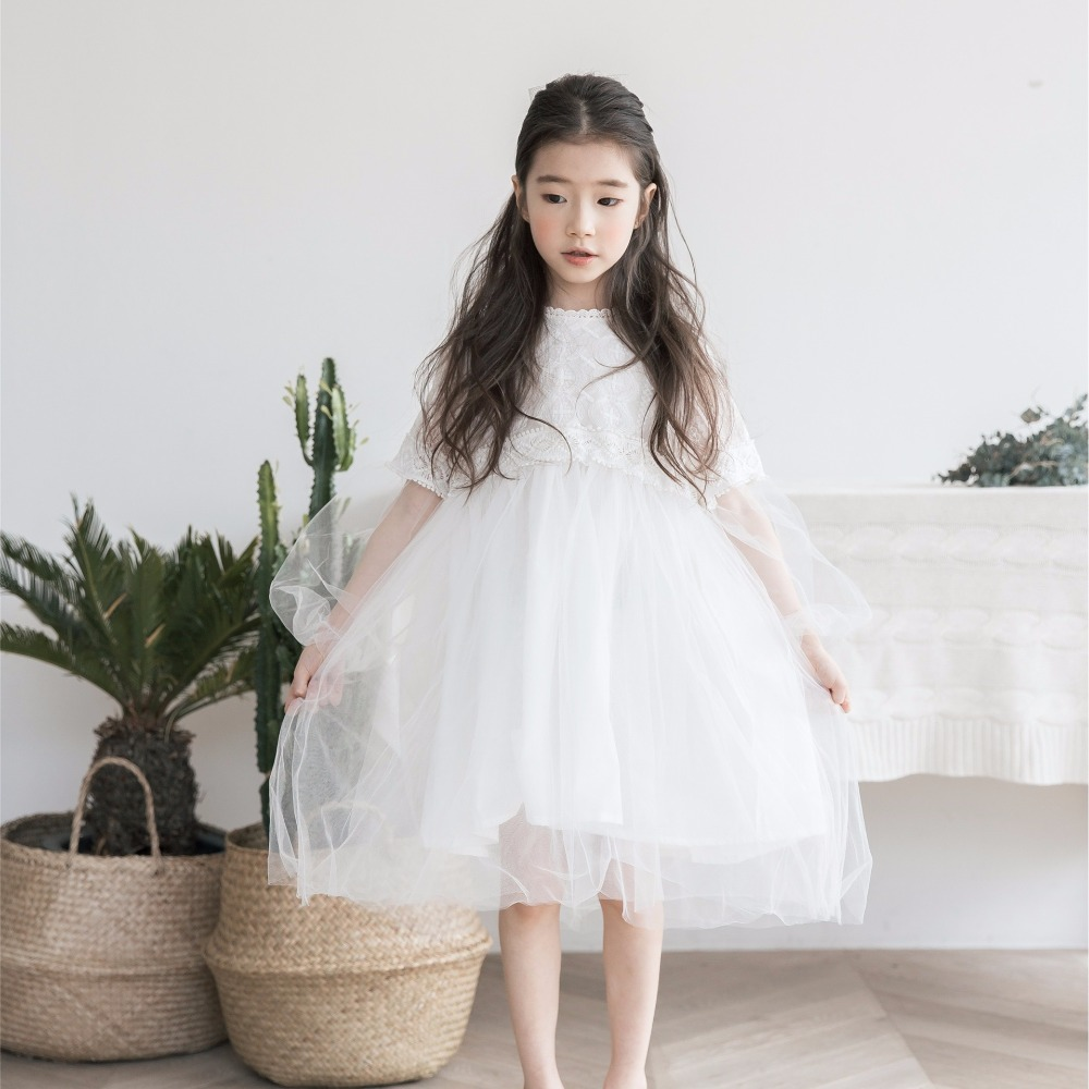 2018 Girls Summer Floral Dress Princess Elegant Big Size Anniversaire Dress Evening Party Tulle Lace Dress Children's Frock lace high low swing evening party dress