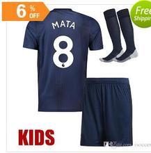 Manchesteer 2018 Top Best Qualit Short sleeve kids kit+sock jersey 18 19 Home Away 3RD shirt Uniteds size Boys kit Free shipping