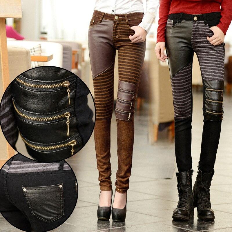 34747a311ea Fashion 2018 Women PU Leather Patchwork Jeans Pants Zippers Boots Trousers  Long Pencil Pants Brown Black
