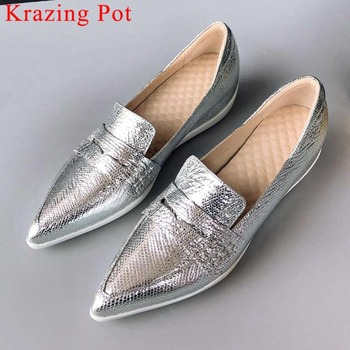 2019 sheep leather oxford pointed toe med heels slip on simple style loafers increase beauty girls classic vulcanized shoes L3f9