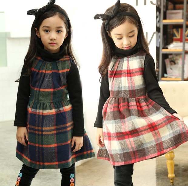 Free shipping Fall Winter Girl Dresses baby Girls Scottish kilt dresses Children kids Sleeveless Grid party dress