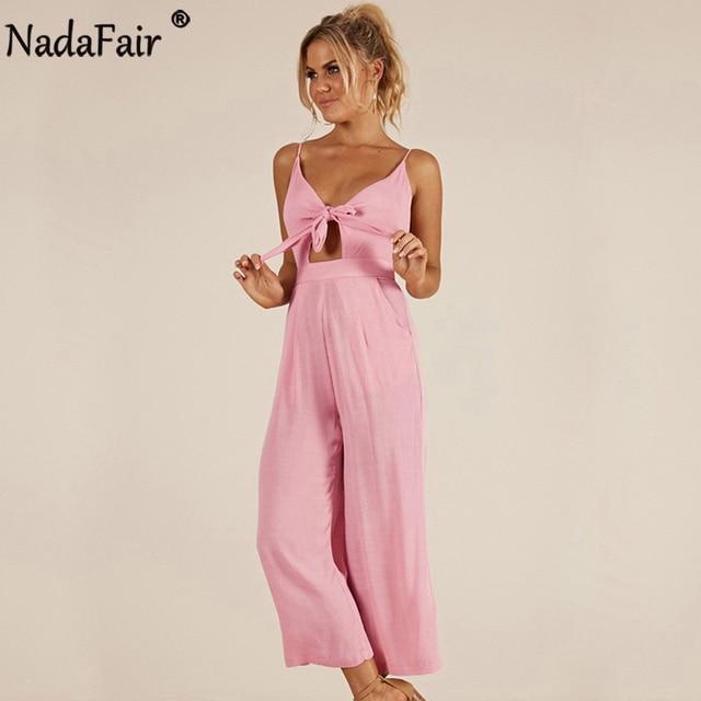 46249e8c4074 Nadafair V Neck Bow Casual Jumpsuit Women Summer Wide Leg Pants Strap  Rompers