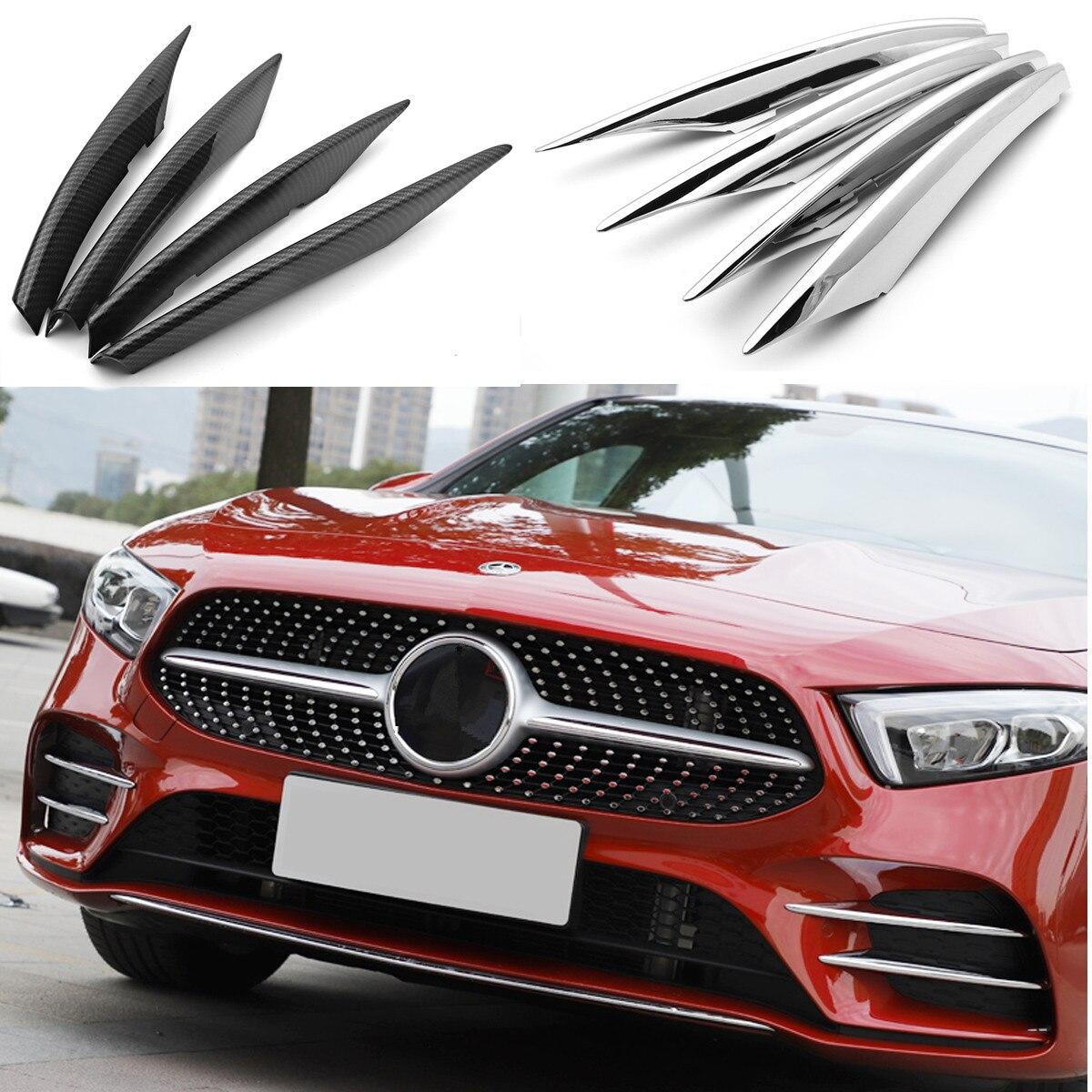 For Mercedes Benz A Class W177 A180 A200 Front Fog Light Trim Cover Strip Sticker ABS Chrome Accessories Car Styling 4PCS/set