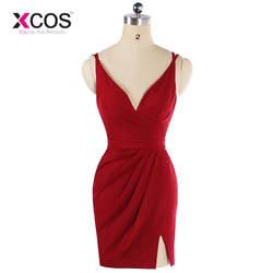 Xcos 15 цветов Красный шифон Короткое платье подружки невесты Мини Свадебные Гость платье Дешевые платье для Для женщин Vestidos De BODA invitados