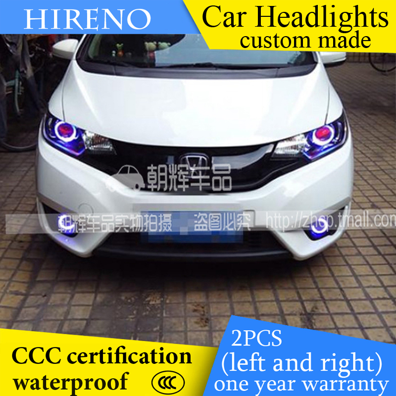 Hireno custom Modified Headlamp for Honda Fit Jazz 2014-17 Headlight Assembly Car styling Angel Lens Beam HID Xenon 2 pcs hireno headlamp for cadillac xt5 2016 2018 headlight headlight assembly led drl angel lens double beam hid xenon 2pcs