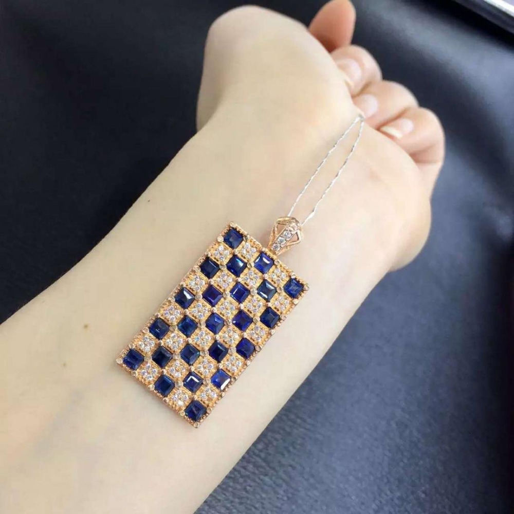 2017 Qi Xuan_Dark Blue Stone Fashion Rectangle Pendant Necklace_Real Necklace_Quality Guaranteed_Manufacturer Directly Sales2017 Qi Xuan_Dark Blue Stone Fashion Rectangle Pendant Necklace_Real Necklace_Quality Guaranteed_Manufacturer Directly Sales