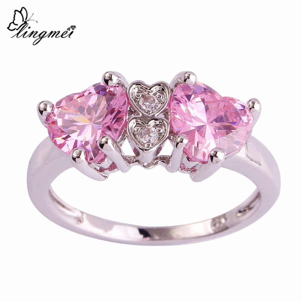 lingmei Engagement Bride Heart Wedding Rings Pink Zircon Dazzling Jewelry Silver Ring Size 7 8 9 10 Women Fashion Cocktail Gifts