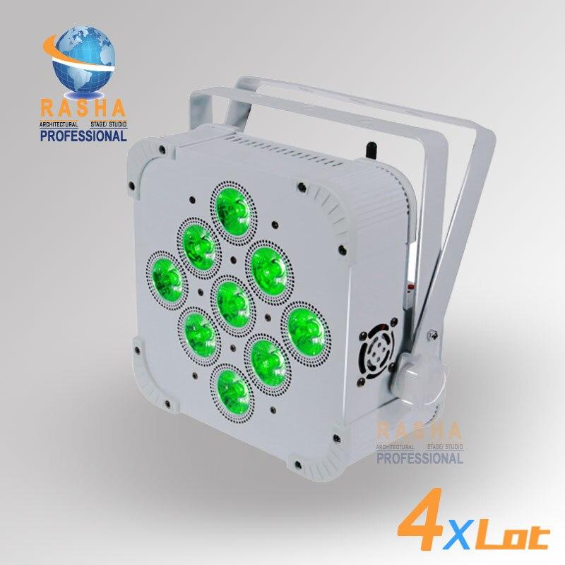 4X Лот Высокое качество высокое Яркость Раша 9 шт. * 10 Вт 4в1 RGBW/RGBA Питание от батареи и беспроводной светодиодный Par свет с портом DMX