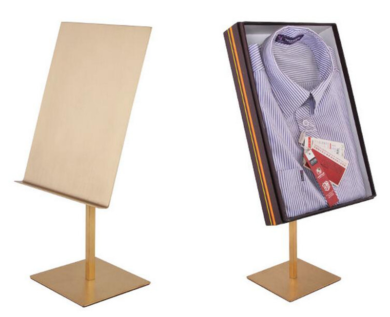 Stainless Steel Mirror Shirt Display Stand Business Shirt Racks Props Clothing Store Shelves