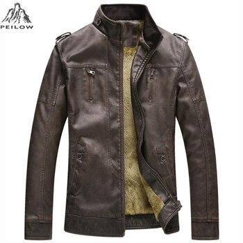 PEILOW new winter men's leather jacket coat classic Retro washed motorcycle leather jacket casual Plus velvet coat men parka
