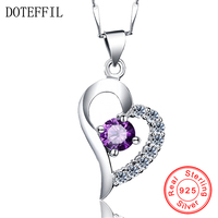 100 Sterling Silver Necklace Charm Woman Heart Pendant Necklace 925 Silver 45cm Chain Fashion Brand Jewelry