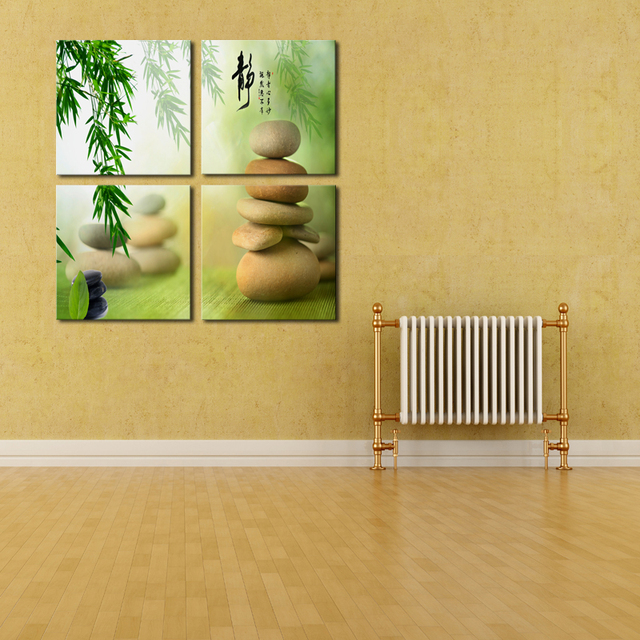 Unframed 4 Panels Bamboo Stone Scenery Picture Print Painting Modern ...