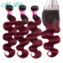 My Like Brazilian Hair Weave Ombre Bundles with Closure 1b/99j Burgundy Red Human Body Wave Non-remy