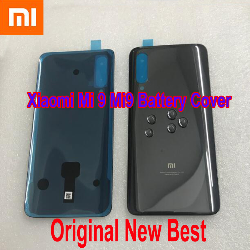 100% Best Original New <font><b>Xiaomi</b></font> <font><b>Mi</b></font> <font><b>9</b></font> Mi9 M9 <font><b>Battery</b></font> <font><b>Cover</b></font> Rear Door Back Housing Case Glass Panel Chassis with Adhesive Tape image
