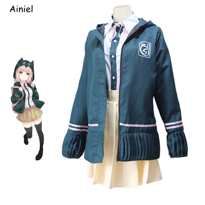 Anime Danganronpa Nanami ChiaKi Cosplay Costume Jackets Students Uniform Clothes Girls Coat Shirt Skirt Anime for Women