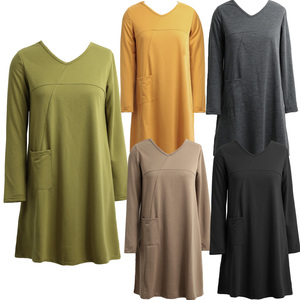 Image 5 - EaseHut Mori Girl Casual Midi Dress Women V neck Long Sleeve 4XL 5XL Large Size Dress 2020 Female Autumn Winter Dress Vestidos