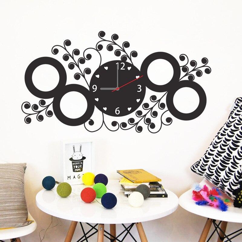 % Творческий DIY любовь круг с цветочной стикер часы модные часы 3D часы гостиная детска ...