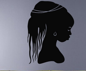 Beauty Salon Vinyl Wall Decal <font><b>African</b></font> Woman Face Hair Mural Art Wall Sticker Hair Salon Bedroom <font><b>Home</b></font> <font><b>Decoration</b></font>