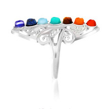 FYJS Silver Plated Ethnic Style 7 Color Stone Beads Resizable Ring Healing Chakra Balancing Jewelry