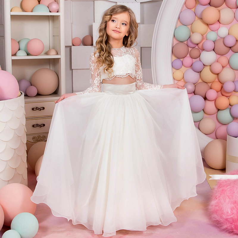 все цены на New A-Line Ivory Flower Girls Dresses Kids Wedding Party Dress long Sleeve Mother Daughter Dresses For Girls Princess Lace Dress