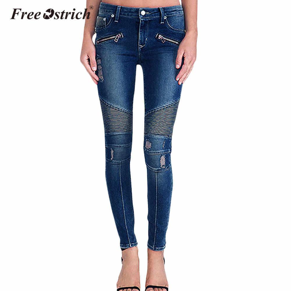 4c2c2a4974 Detail Feedback Questions about Free Ostrich Jeans Women 2019 Plus Size  Ripped Fading True Denim Skinny Motorcycle Biker Jeans For Women Jean  Pencil Pants ...