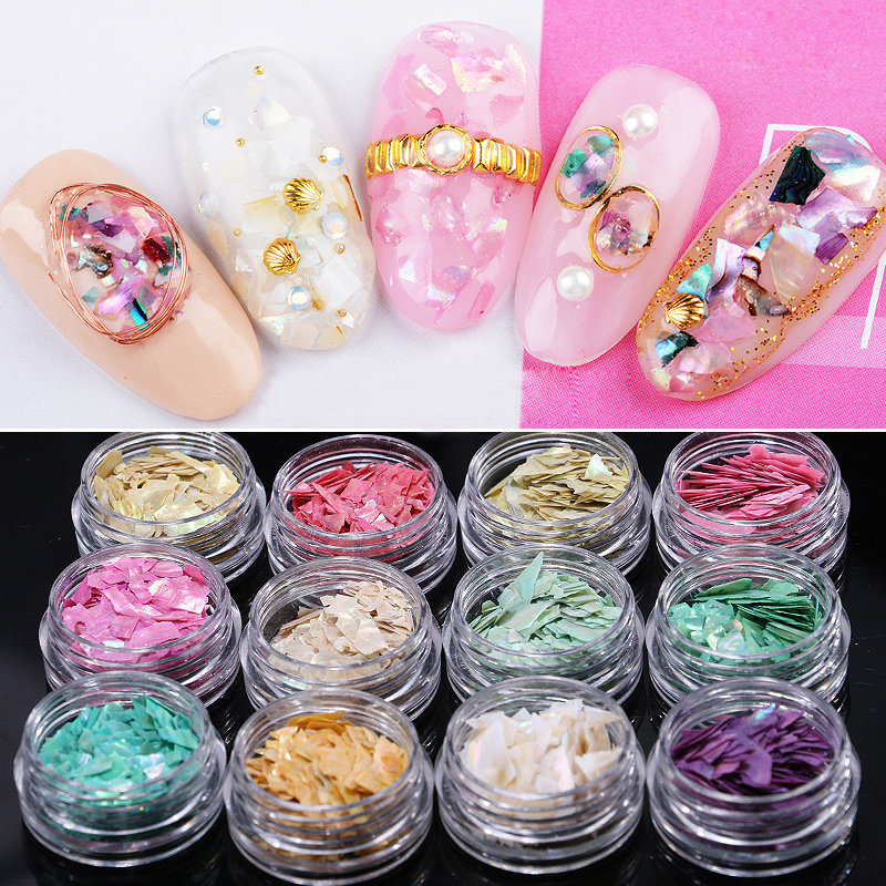 New fashion 12 colors abalone shell slices nail art for Acrylic nail decoration supplies