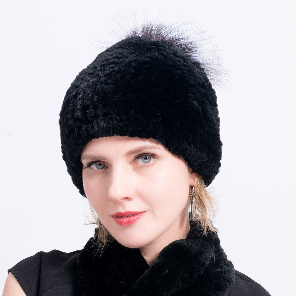 Rex rabbit fur hat scarves pompom color 5