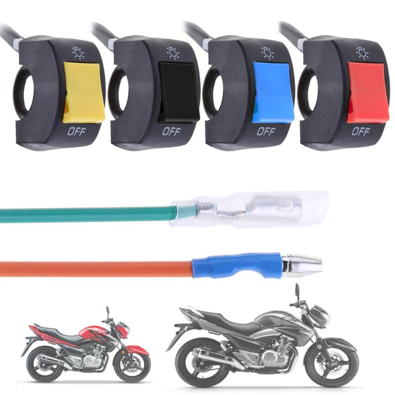 Interruptor de manillar de motocicleta de 22 mm Qiilu luz antiniebla de freno y apagado con indicador de luz