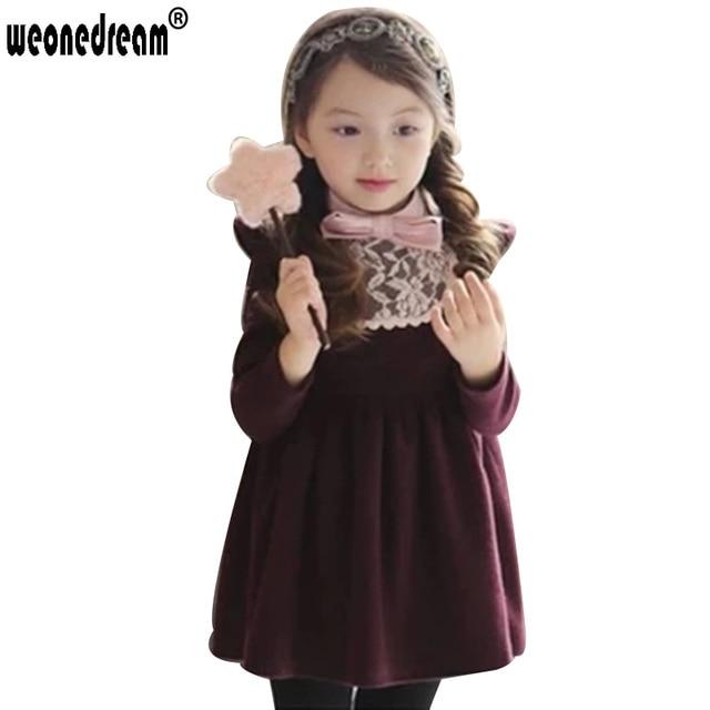 dfe11d2d9 Baby Girl Princess Dresses Long Sleeve Bow Lace Children s Dress ...