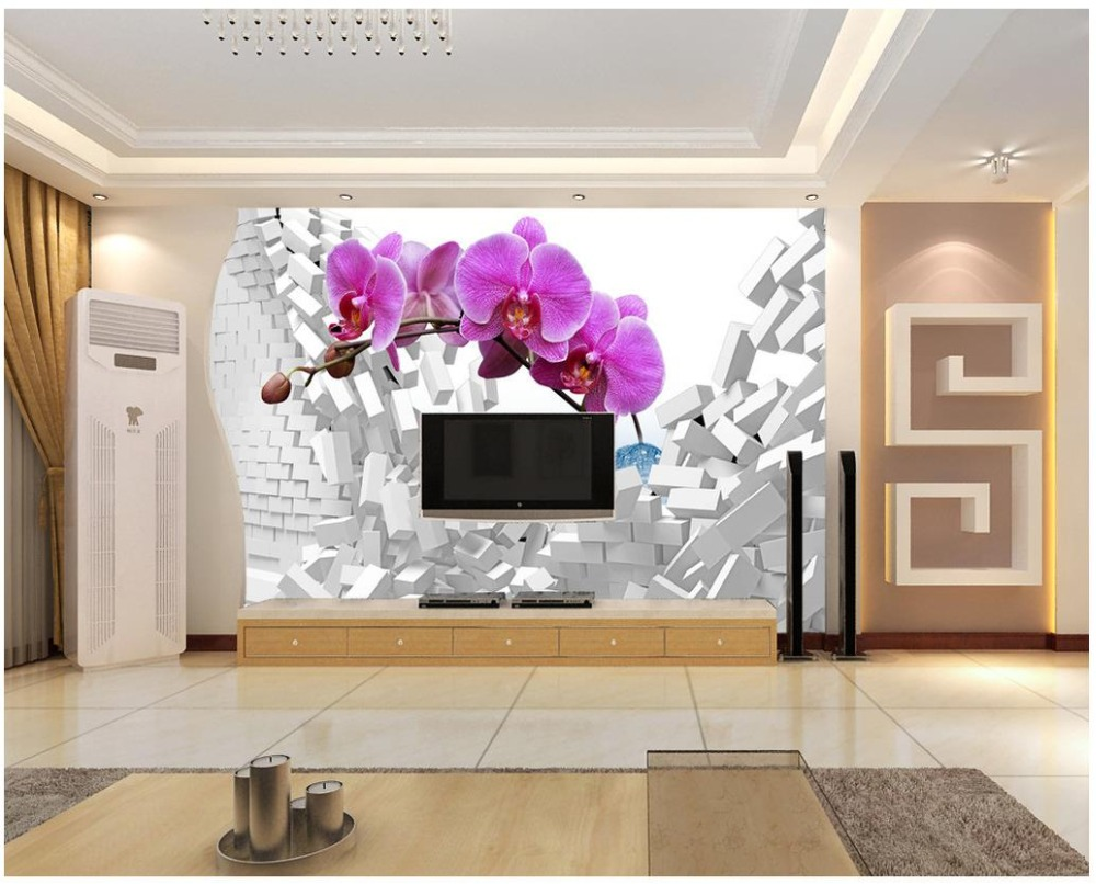 US $13 1 OFF Custom 3d Photo Wallpaper 3d Wall Murals Wallpaper 3 D Dream Butterfly Orchid TV Setting Wall Paper 3d Wallpaper For Living