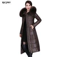BJCJWF новая зимняя куртка пуховик Для женщин Элегантное длинное пальто Тонкий парка с натуральным воротник из натурального меха с капюшоном