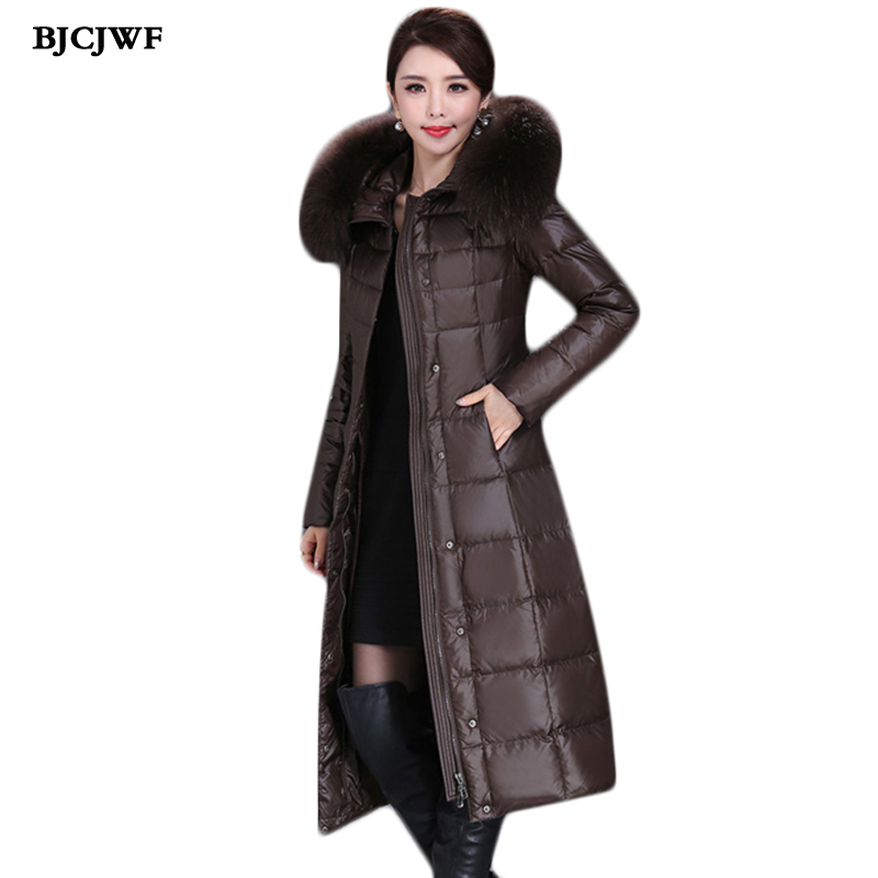 BJCJWF New Winter Down Jacket Women Elegant X-Long Slim Parka With Real Natural Fur Collar Hooded Plus Size Windproof Down Coat