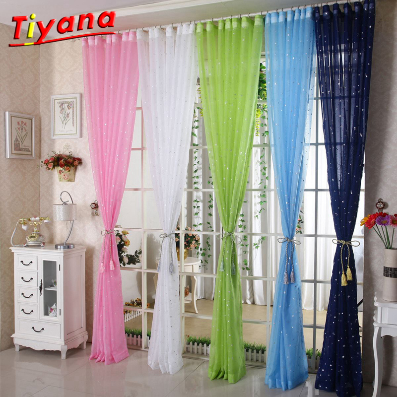 Star Gauze Screening Window Pink Blue Green Tulle Curtain Modern Fashion Fancy Tulle Sitting Room HOT SALE Kids' Room WP234*30